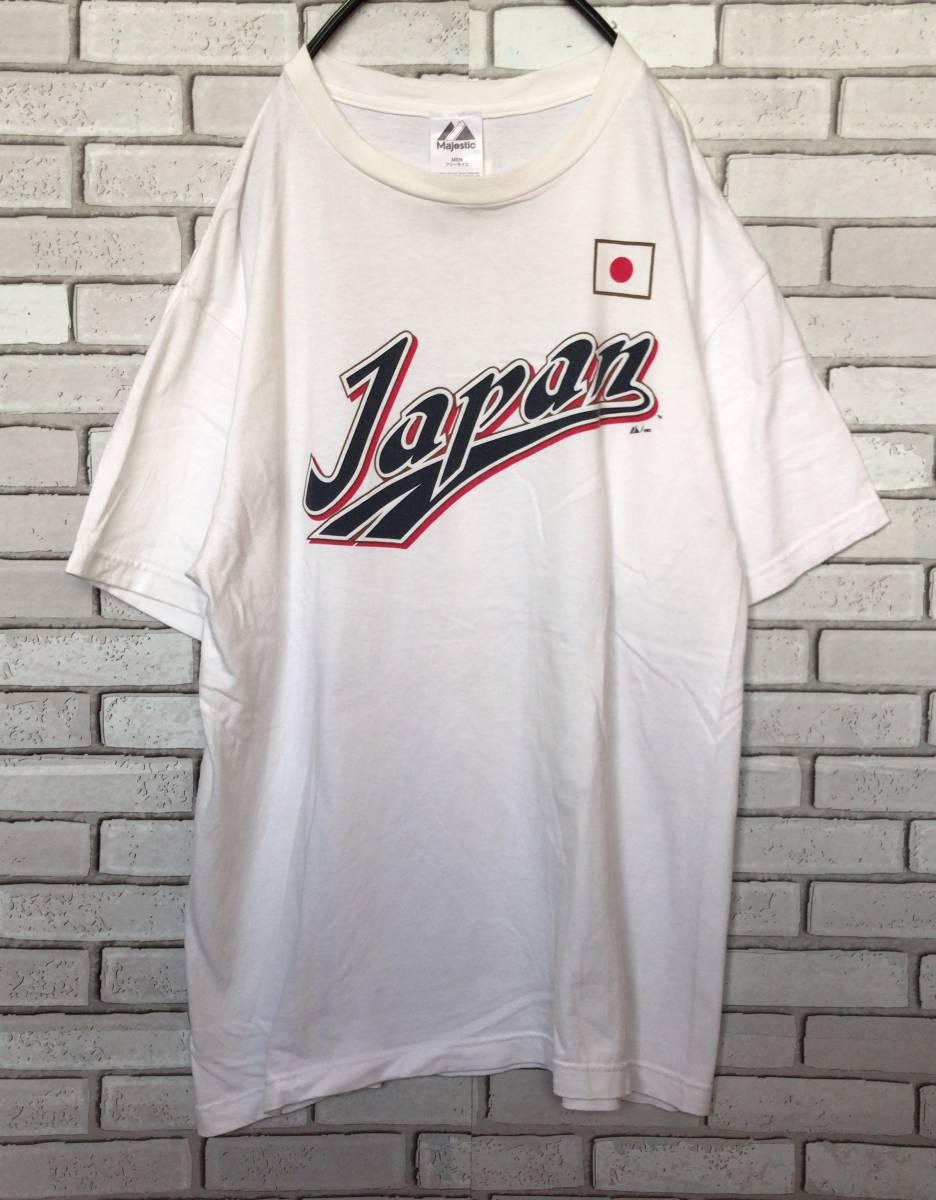 【WBC】2013 ワールドベースボールクラシック 野球 日本代表 本多雄一 #46 Tシャツ Majestic フリーサイズ 福岡ソフトバンクホークス_画像1