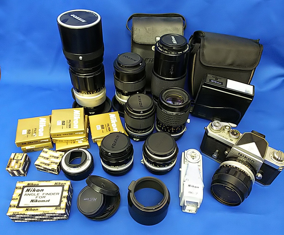 Nikon ニコン F ボディ+24mm 50mm 55mm 86mm 105mm 135mm 80~200mm 300mm等 レンズ多数