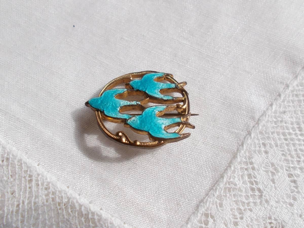 英國古董維多利亞胸針三隻藍鳥燕子琺瑯卷金 編號:t602603331