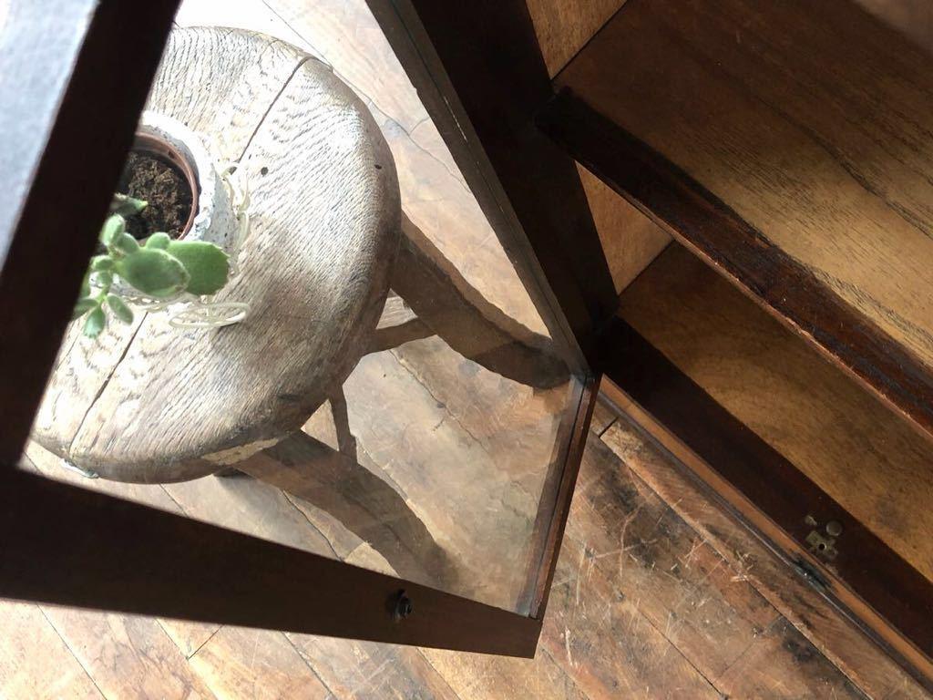 【Aiwon】ビンテージ/古ガラス/引き出しの付いた小振りな木製飾り棚/ゆらゆらガラス/本棚/H83.5 W48.7 D28.5cm/アンティークレトロ_画像3