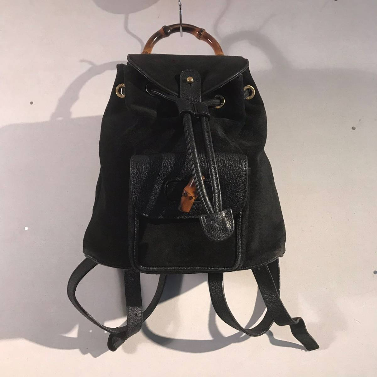 6e0418b34e1 Old Gucci OLD GUCCI Italy made bamboo rucksack Day Pack bag suede leather  black black