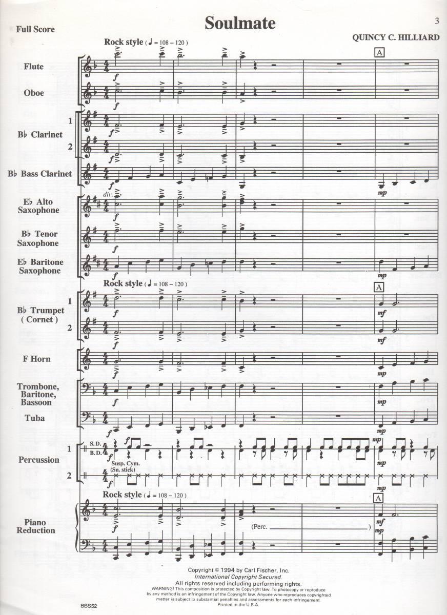 吹奏楽楽譜/クインシー・ヒリアード:ソウルメイト/試聴可/CD付/初級バンド向け_画像3