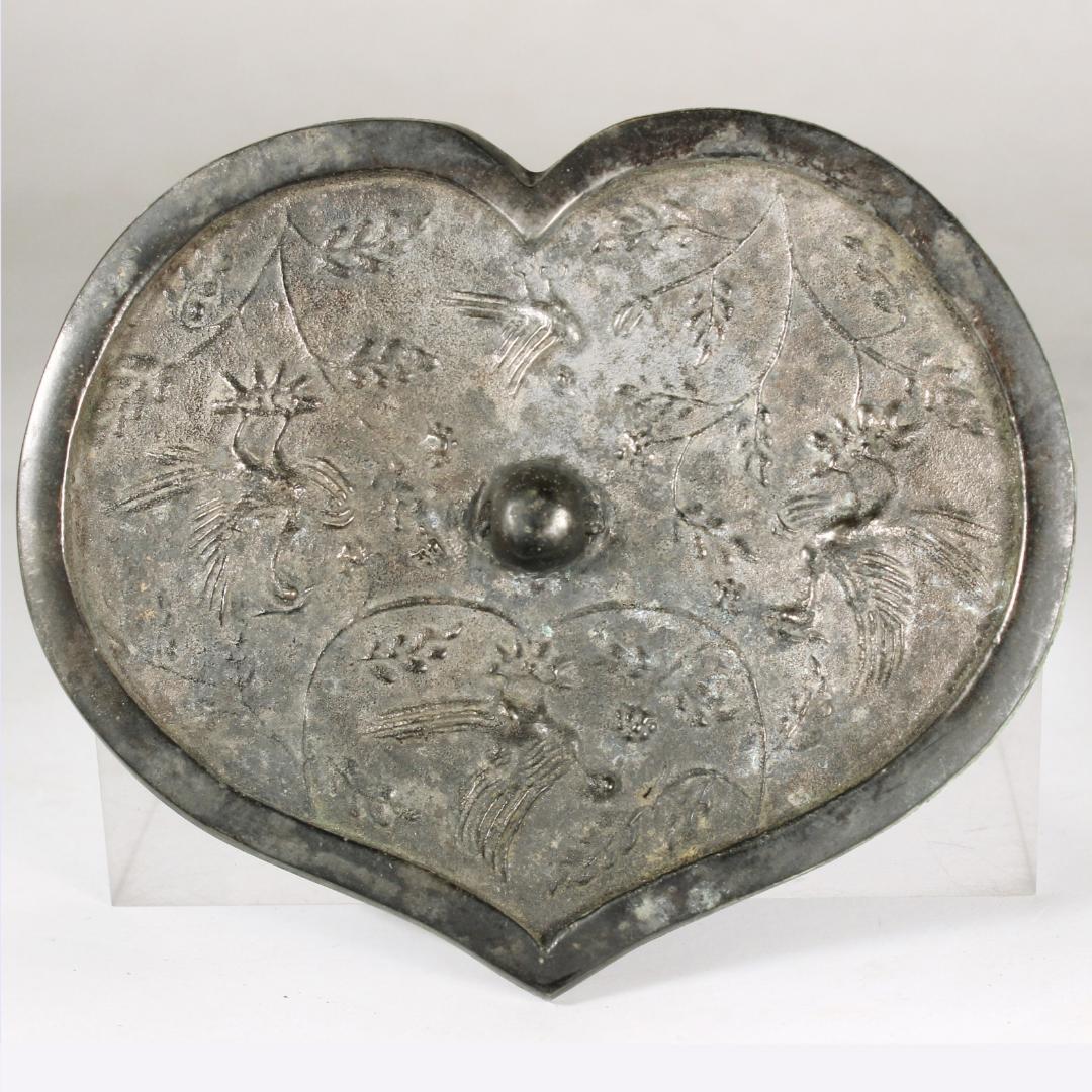 銅鏡 青銅器 朱雀 葉型 美術品 骨董品 中國 戦國時代11-695