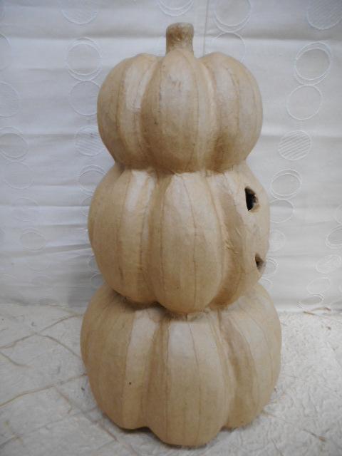 ハロウィン飾り パンプキンダルマ人形 ナチュラルカラー  ディスプレイ 中古品
