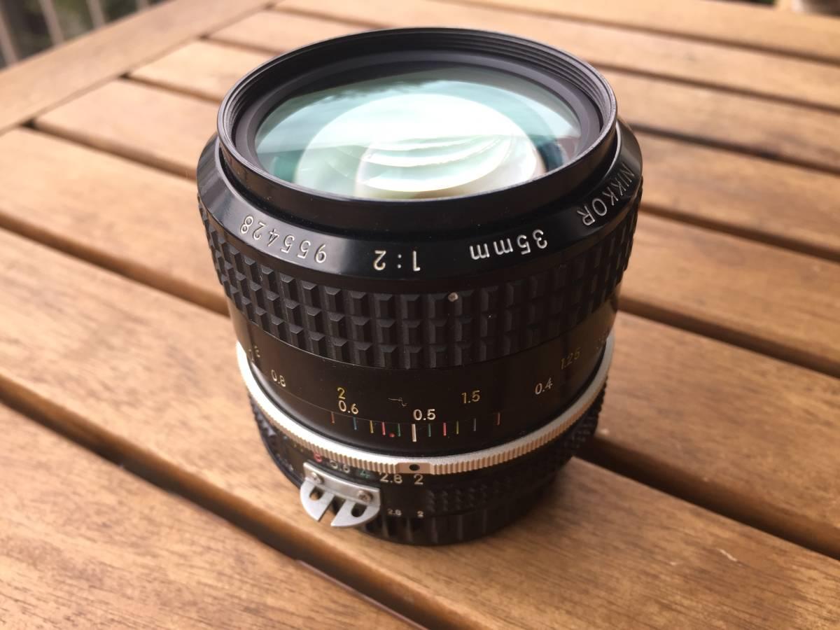 ■1円~ ニコン35mmレンズ Nikon 35mm F2 955428番台 純正フード付き