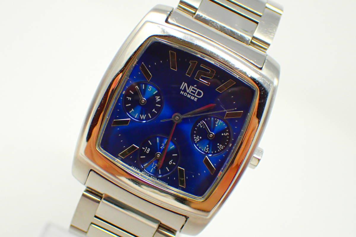 ●INED 6329 イネド 腕時計 カレンダー機能 美品 徹底洗浄_画像1