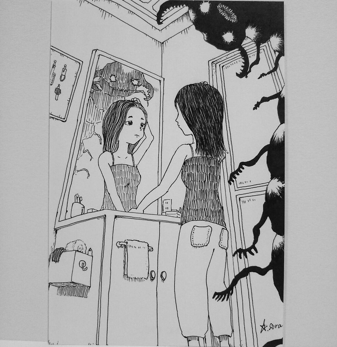 オリジナルイラスト 手描きイラスト ハンドメイド 自作 アート 白黒 原画