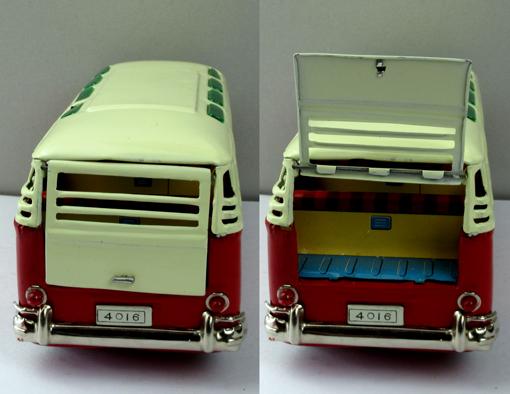 ●珍しい8の字走行電動ワーゲンマイクロバス運転手付バンダイ製ブリキ _画像3