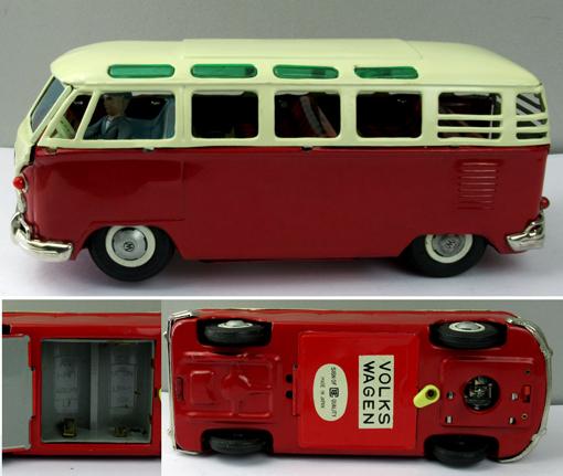 ●珍しい8の字走行電動ワーゲンマイクロバス運転手付バンダイ製ブリキ _画像4