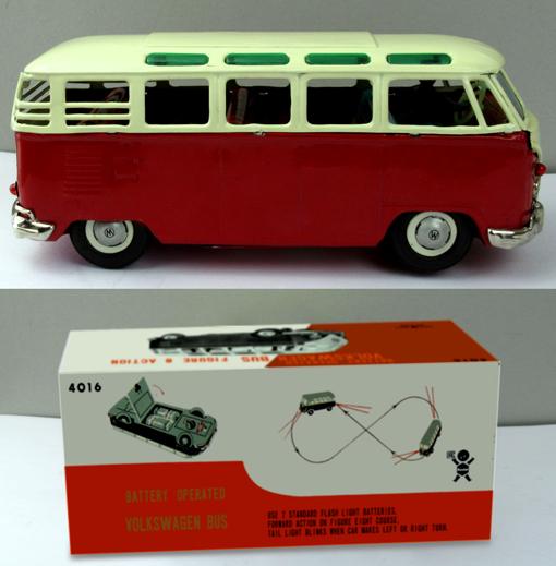 ●珍しい8の字走行電動ワーゲンマイクロバス運転手付バンダイ製ブリキ _画像5