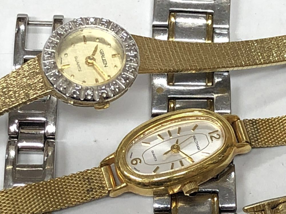 宝飾腕時計など20点 ゴールド シルバー ダイヤモンド 大量 まとめ売りセット ジャンク 豪華 格安1スタート 部品取り GRUEN WALTHAM 056_画像5