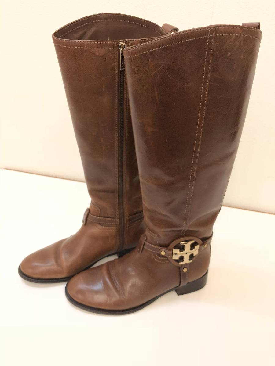 5abbde22d used   Tory Burch jo key boots 8M Logo metal fittings   Real Yahoo ...