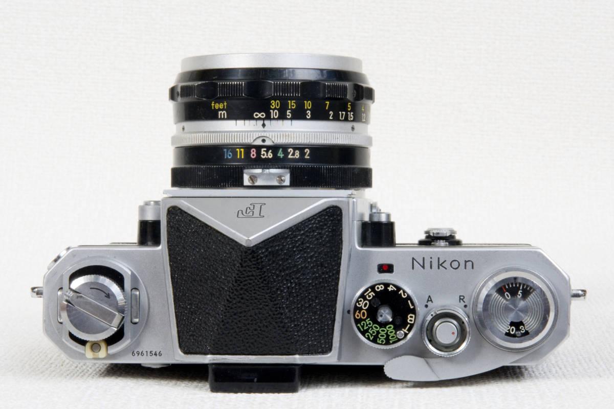 ニコンF アイレベル シルバー 696万番台 Nikkor-H 50mm F1:2.0 セミソフトケース付き 正常動作確認品_画像4
