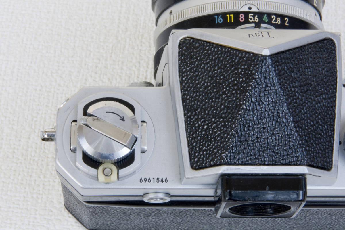 ニコンF アイレベル シルバー 696万番台 Nikkor-H 50mm F1:2.0 セミソフトケース付き 正常動作確認品_画像9