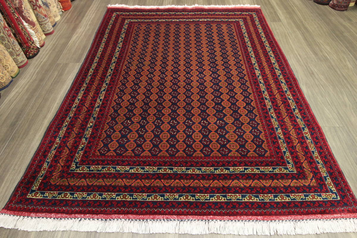 ☆SPECIAL PRICE☆ アフガンラグの最高峰 ホジャロシュナイ アフガニスタン 部族絨毯 手織り絨毯 トライバルラグ 148x200cm/GH59