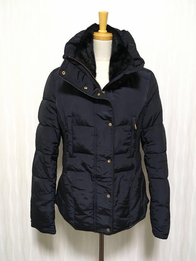 新品同様品 ZARA ザラ キルティングダウン ジャケット コート セミマットネイビー 濃紺 ■革素材使用■ レディース L