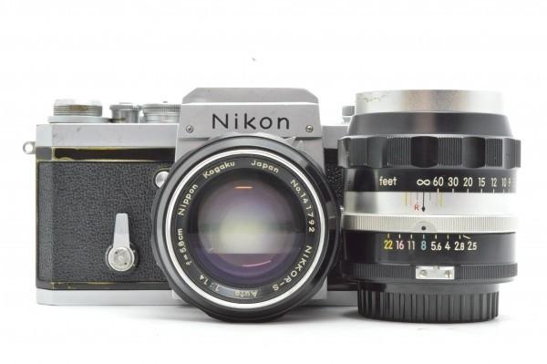 ◆ Nikon ニコン F アイレベル 650万台 + 非AI 5.8cm F1.4 + 10.5cm F2.5 フィルムカメラ 標準単焦点 中望遠単焦点 訳あり 送料無料