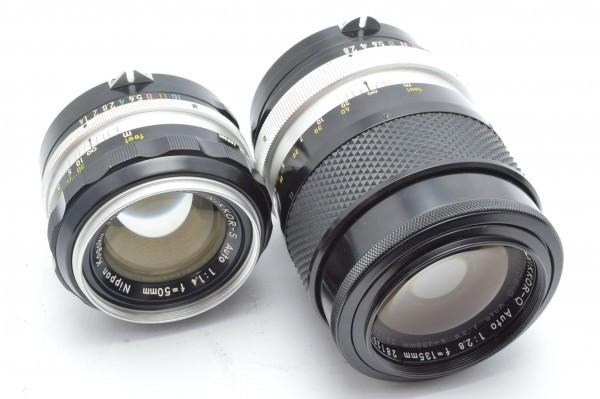 ◆ Nikon ニコン F アイレベル 726万台 + 非AI NIKKOR-S Auto 50mm F1.4 + 135mm F2.8 フィルムカメラ 標準単焦点 中望遠単焦点 送料無料_画像9