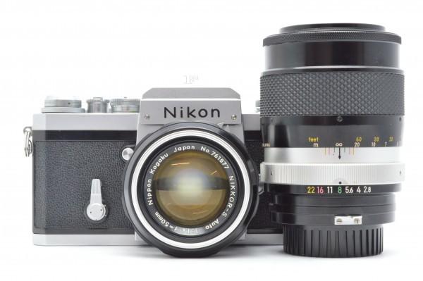 ◆ Nikon ニコン F アイレベル 726万台 + 非AI NIKKOR-S Auto 50mm F1.4 + 135mm F2.8 フィルムカメラ 標準単焦点 中望遠単焦点 送料無料