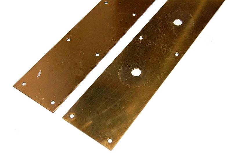S1328 アンティークの真鍮ドアハンドル&プレートのセット 古い扉の取っ手 ブロンズ製? ショップ什器 スイングドア建具部品_画像9