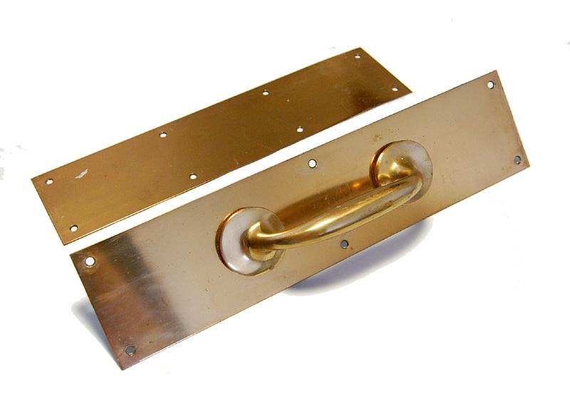 S1328 アンティークの真鍮ドアハンドル&プレートのセット 古い扉の取っ手 ブロンズ製? ショップ什器 スイングドア建具部品_画像1