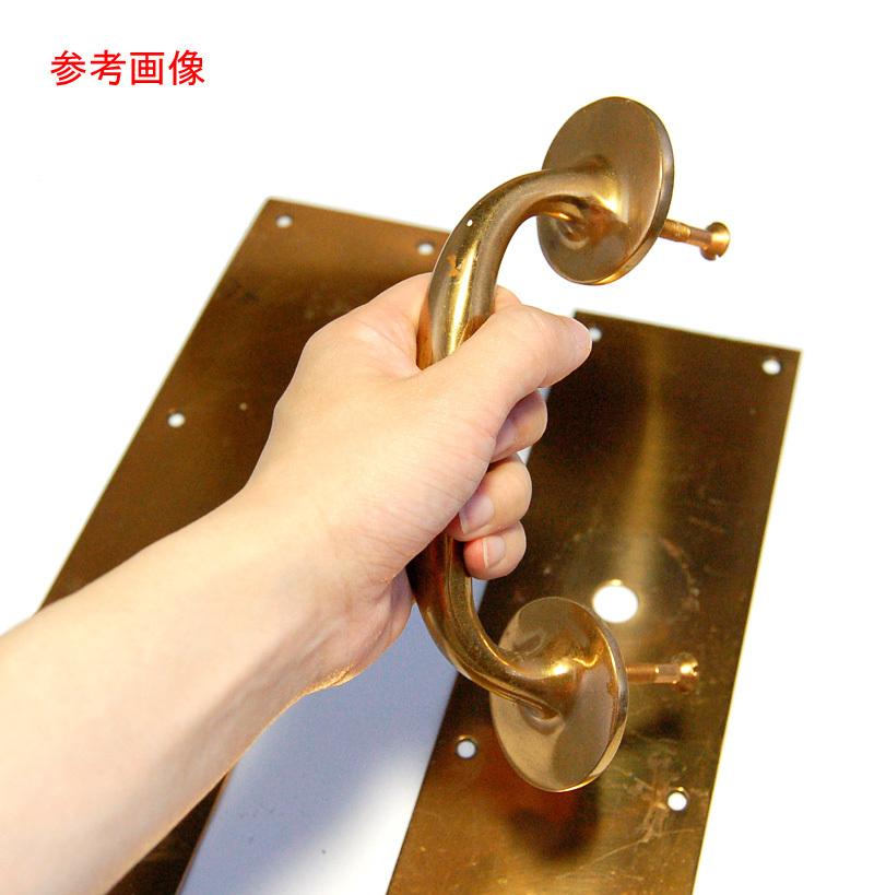 S1328 アンティークの真鍮ドアハンドル&プレートのセット 古い扉の取っ手 ブロンズ製? ショップ什器 スイングドア建具部品_画像10