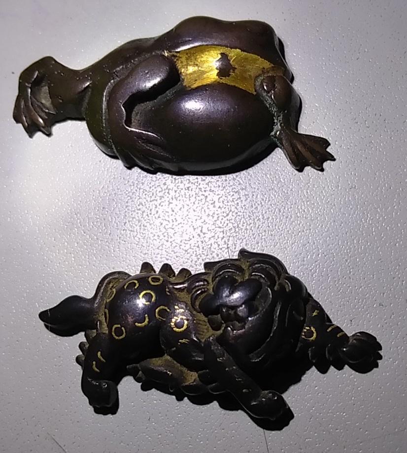 赤銅金象嵌 銅目貫 蛙 獅子 一双_画像4