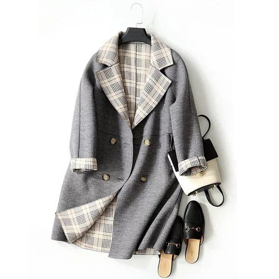 popular new goods * color scheme check Mod's Coat long height double bo tang re-XL