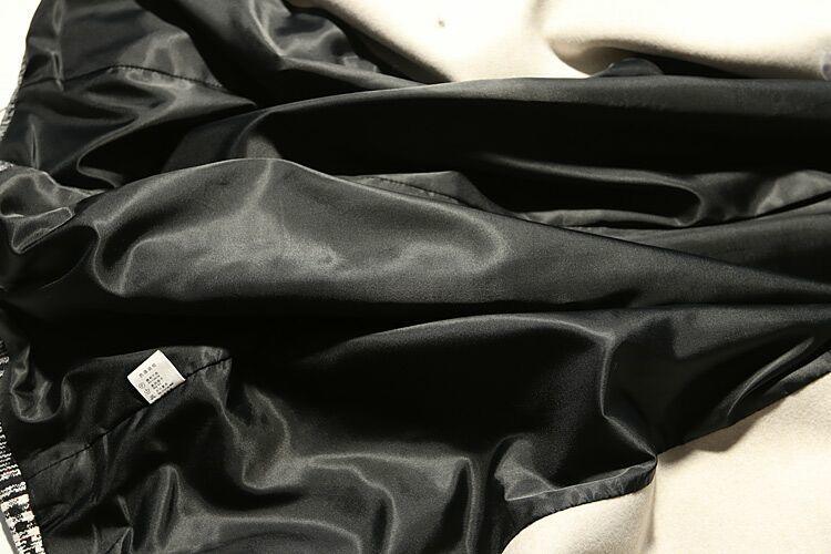 新品魅力★配色チェックモッズコートロング丈裏地付き暖かい黒XL_画像5