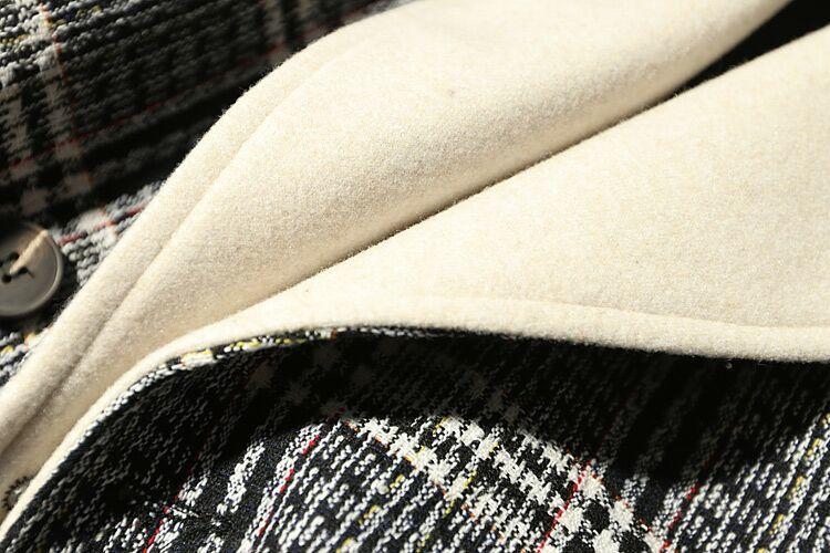 新品魅力★配色チェックモッズコートロング丈裏地付き暖かい黒XL_画像2