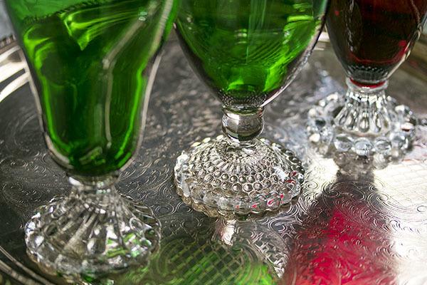 美品! ファイヤーキング バブル フォレストグリーン ロイヤルルビー ゴブレット シャンパン ワイングラス 3個セット 1940年~1960年代_画像4