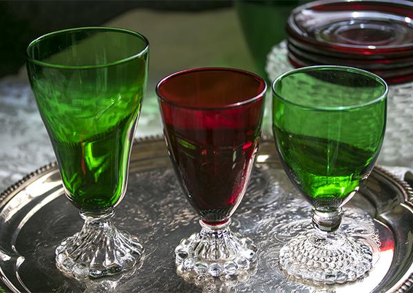 美品! ファイヤーキング バブル フォレストグリーン ロイヤルルビー ゴブレット シャンパン ワイングラス 3個セット 1940年~1960年代