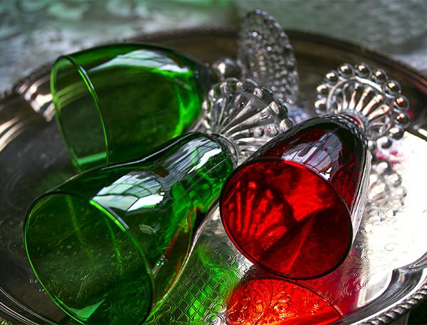 美品! ファイヤーキング バブル フォレストグリーン ロイヤルルビー ゴブレット シャンパン ワイングラス 3個セット 1940年~1960年代_画像2