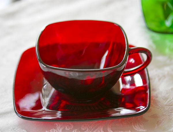 美品! ファイヤーキング ロイヤルルビー チャーム カップ&ソーサー 1950年代 ビンテージ コーヒー 紅茶 ティー