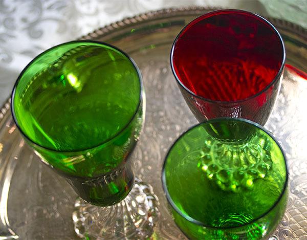 美品! ファイヤーキング バブル フォレストグリーン ロイヤルルビー ゴブレット シャンパン ワイングラス 3個セット 1940年~1960年代_画像3