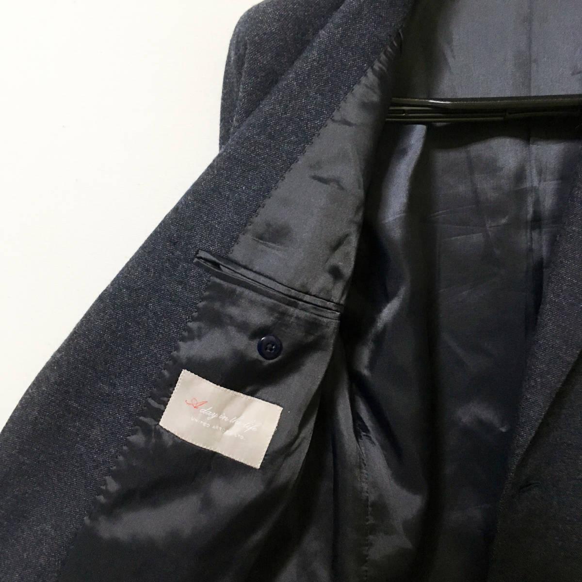 #UNITED ARROWS|ユナイテッドアローズ ツイードウール2ピースセットアップ テーラードジャケット/ジレ ダークネイビーグレー 美品 sizeS