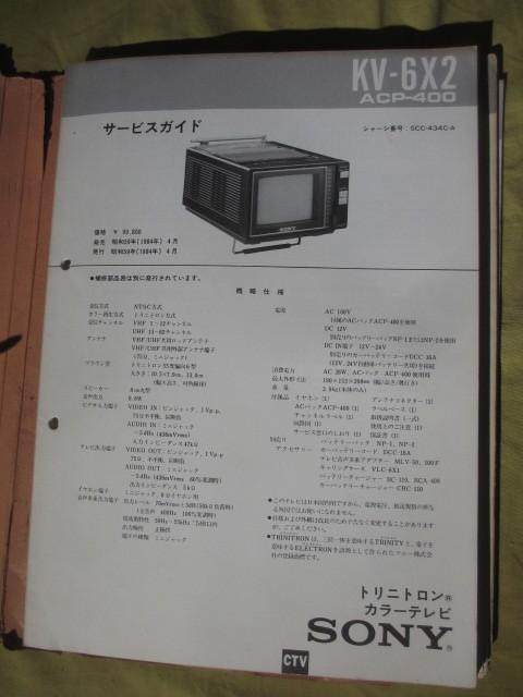 昭和58年~60年 「ソニー製品 サービスガイド」スクラップアルバム・・・テレビが多い・・・大判回路図も多数 (1983年~85年)_画像3
