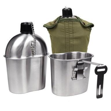 ■ 【3点セット】 ステンレス製 米軍 ミリタリー 水筒 (カップ:1L) + キャンティーンカップ(500ml) + カバー
