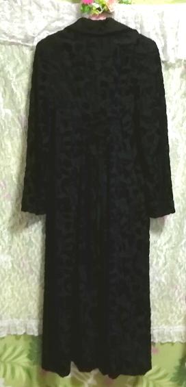 黒ブラック花柄刺繍ロングマキシトレンチコート/外套/上着/羽織 Black flower pattern embroidery long maxi trench coat/jacket_画像7