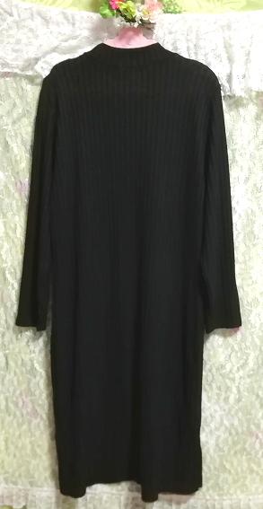 黒ワンピースロングセーター/ニット/トップス Black onepiece long sweater/knit/tops_画像2