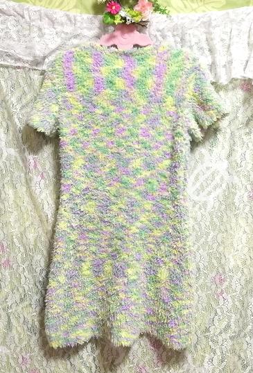 黄と緑と紫色のふわふわ半袖/セーター/ニット/トップス Yellow green purple fluffy short sleeve/sweater/knit/tops_画像3