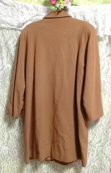 カシミヤ茶色ブラウンシンプルロングコート/外套/上着/羽織/日本製 Cashmere brown simple long coat/jacket/made in Japan_画像6