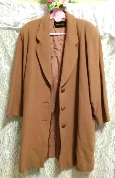 カシミヤ茶色ブラウンシンプルロングコート/外套/上着/羽織/日本製 Cashmere brown simple long coat/jacket/made in Japan_画像5