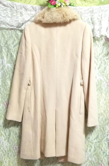白フローラルホワイトアイボリーフォックスファー毛とアンゴラロングコートベルト付9号 Floral white ivory fox fur angola coat/jacket_画像4