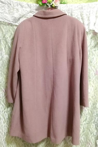 ピンクパープル毛100%シンプル無地ロングコート/外套/上着/羽織/日本製 Pink purple hair 100% simple long coat/jacket/made in Japan_画像3