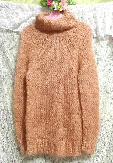 オレンジふわふわモヘア長袖セーター/ニット/トップス Orange fluffy mohair long sleeve sweater/knit/tops_画像2