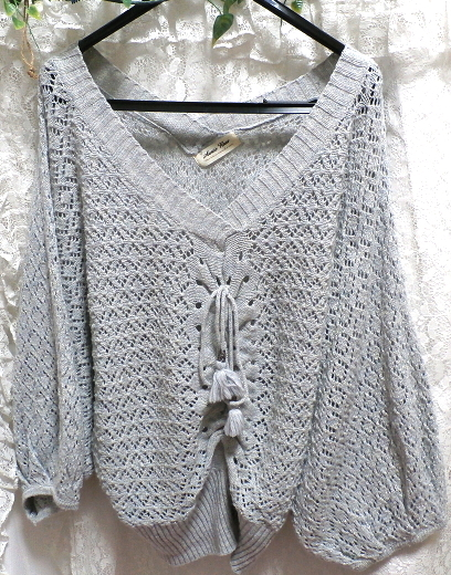 灰グレー水色ポンチョ型編みレース/セーター/ニット/羽織 Gray light blue poncho shape lace/sweater/knit/coat_画像1