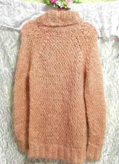オレンジふわふわモヘア長袖セーター/ニット/トップス Orange fluffy mohair long sleeve sweater/knit/tops_画像3