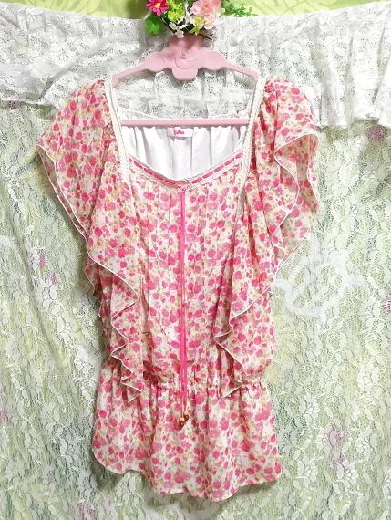 可愛いバラ花柄ピンクの紐付きフリル/チュニック/ワンピース Cute rose flower pattern pink frills/tunic/onepiece_画像3