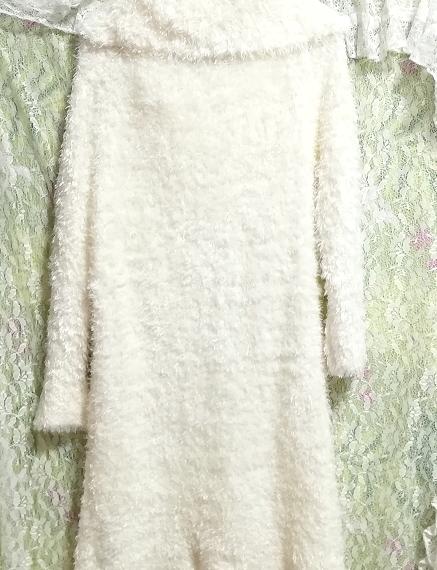 白ホワイトふわふわワンピース長袖大きめ100cmロングセーター/ニット/トップス White fluffy onepiece long sleeve large sweater/knit_画像6